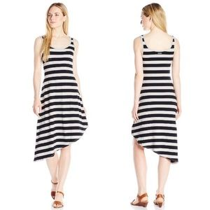 Dresses & Skirts - Asymmetrical Grey Black Stripe Jersey Tank Dress